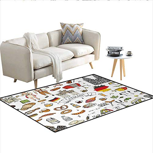 (Carpet,Hand Drawn Doodle of German Culture Icons Football Jersey Food Science and Music,Area Silky Smooth)