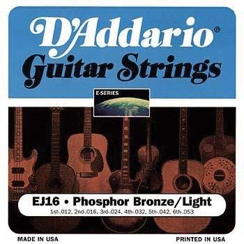 D'Addario EJ16x5 , Acous Guit Strings, Phos/Brnz Rnd Wnd, Li