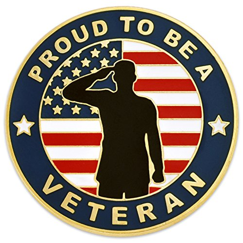 PinMart Made in USA American Flag Proud to be a Veteran Patriotic Military Lapel Pin