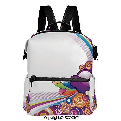 SCOCICI Stylish Bookbags Child Back to School Gift,Kids Nursery Room Decoration Rainbows Colored Clouds Lines Rounds Suns Print Image,L11.4xW6.3xH15 Inches