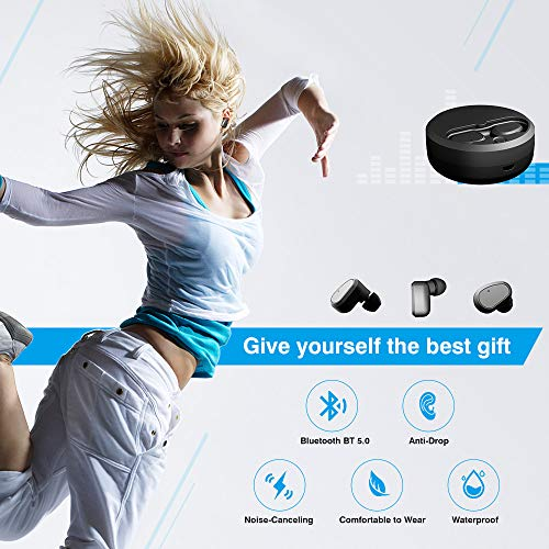 Bluetooth Headphones, XIAOWU Bluetooth 5.0 True Wireless Earbuds Sweatproof Sports Headsets in-Ear Noise Cancelling Mini Twins Stereo Earphone with Built-in Mic and Charging Case 2