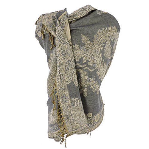 (Silver Fever Pashmina - Jacquard Paisley Shawl - Stylish Scarf - Double Sided Wrap (Gray/Sand))