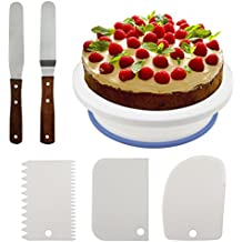 Fixget 10.8'' Cake Decorating Turntable, Rotating Cake Stand Decorating Turntable Supplies with 3 Pcs Decorating Comb/Icing Smoother + 2 Pcs Icing Spatulas with Sided & Angled