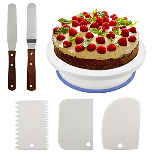 Icing Spatula (Fixget 10.8'' Cake Decorating Turntable, Rotating Cake Stand Decorating Turntable Supplies with 3 Pcs Decorating Comb/Icing Smoother + 2 Pcs Icing Spatulas with Sided & Angled)