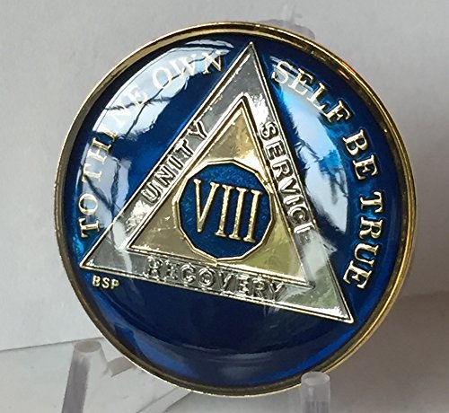 (Bright Star Press 8 Year Midnight Blue AA Alcoholics Anonymous Medallion Chip Tri Plate Gold & Nickel Plated Serenity Prayer)