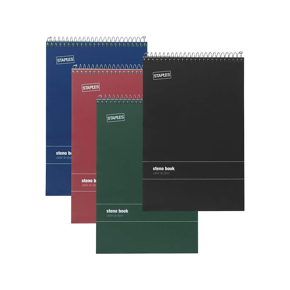 Staples Green Paper Steno Pads, Gregg Ruled, 6'' x 9'', 12/Pack by STAPLES