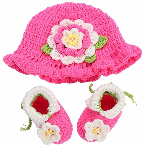 [Farook-Flower Knitting Baby Shoes Girls Hats Sets( 0-6 Months )] (Flower Zombie Costumes For Girls)