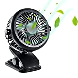 Trippix Portable USB Fan, 360 Degree Rotating Rechargeable Battery Battery Operated Clip on Mini Desk Fan Cooler, 3-Speed for Baby Stroller, Home, Office, Camping, Hiking, Biking, Travel (Black)