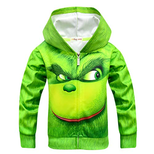 YANGGO Children Kids 3D Grinch Costume Zipper Hoodie Sweatshirt Pullover Hooded Shirt Outwear Jacket (A-Coat, 6) -