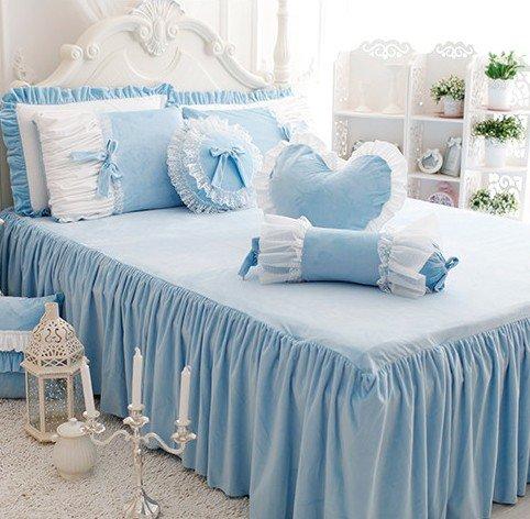 FADFAY Cute Girls Short Plush Bedding Set Romantic White Ruffle Duvet Cover Sets 4-Piece,Blue Queen