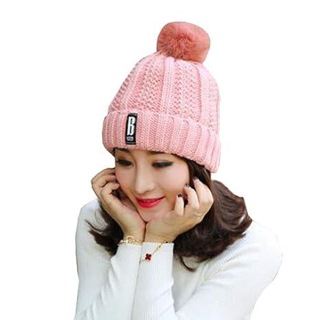 debe1365703 Amazon.com  Chinashow Stylish Beanie Hat Winter Knit Hats Womens Girls Warm  Snow Ski Cap Fur Pom Pom