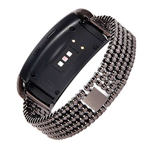 Replacement Watch Band For Samsung Gear Fit2 Pro,ChainSee Five-bead Stainless Steel Bracelet Strap Clasp Wrist Band (Black)