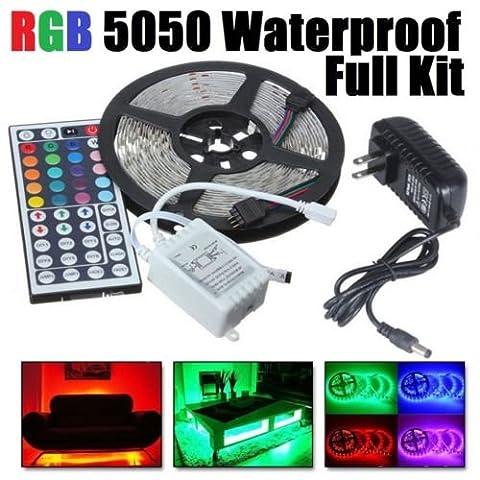 5M RGB 5050 Waterproof LED Strip light SMD 44 Key Remote 12V US Power Full Kit (Dodge Night Runner)