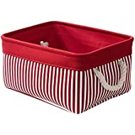 TcaFmac Small Red Fabric Storage Baskets for Gifts Empty,Decorative Canvas Storage Bins Organizing Baskets for Shelves,Toy Storage Baskets for Nursery Baby Laundry Basket 12 (L) x 8(W) x 5 (H) inch