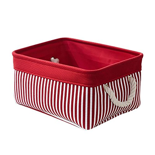 TcaFmac Small Red Storage Baskets for Gifts Empty,Decorative Collapsible Canvas Storage Container Organizing Baskets for Shelves,Baby Laundry Basket, 14(L) x 10(W) x 7(H) by TcaFmac