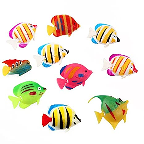 Amazon.com : Gosear 10 Pcs Plastic Artificial Decorative Aquarium Fish Tank Fish Toy Decoration Random Style : Pet Supplies