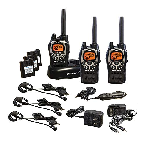 Midland - GXT1000VP4, 50 Channel GMRS Two-Way Radio - Up to 36 Mile Range Walkie Talkie, 142 Privacy Codes, Waterproof, NOAA Weather Scan + Alert (3 Pack) (Black/Silver) (Earpiece Radio Portable Motorola)