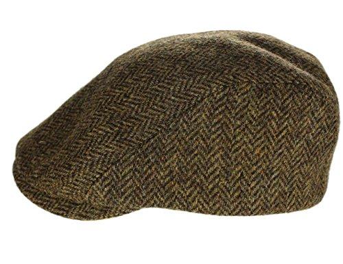 Irish Flat Cap Extended Brim Formfitting 100% Tweed Brown Made in Ireland Large -