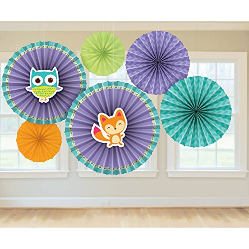 Amscan Cuddly Woodland Welcome Paper Fan Baby Shower Party Decoration, 16