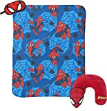 Marvel Spiderman Classic 3 Piece Plush Kids Travel Set with Neck Pillow, Blanket & Eye Mask