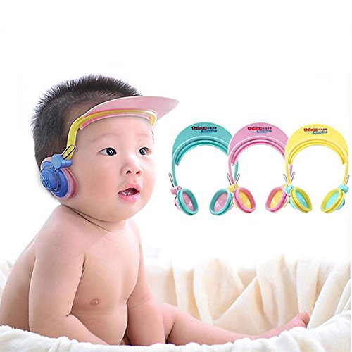 Children Earmuff Shampoo Bath Bathing Shower Cap Hat Wash Hair Shield for Baby Boys Girls (pink) (Boys Toddler Earmuffs For)