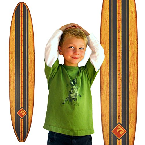 Growth Chart Art | Surfboard Growth Chart for Boys & Girls | Nursery Wall Decor | Surfboard (Navy Stripe) by Growth Chart Art