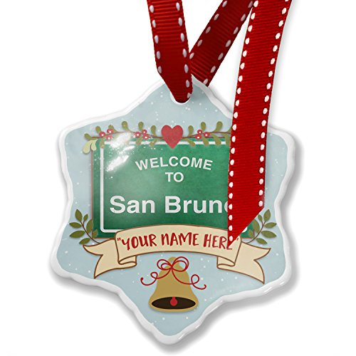 NEONBLOND Add Your Own Custom Name, Green Road Sign Welcome to San Bruno Christmas ()