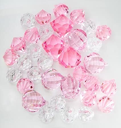 Amazon Translucent Clear Pink Assorted Shaped Acrylic Gems