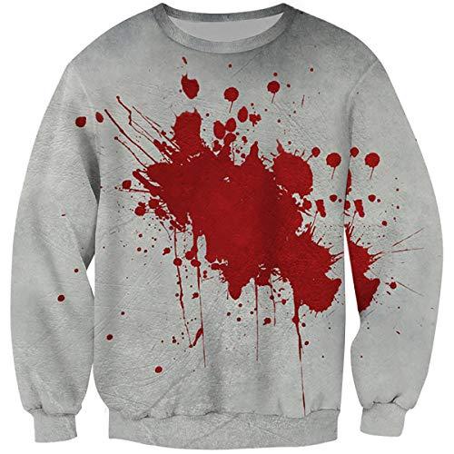 Keepline Men's Fake Blood Stain Pullovers 3D Printed Long Sleeves Casual Halloween Sweatshirts]()