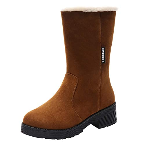 Tefamore Botas Mujer Tacon Botas Altas Botines Botas de Nieve Mujer Inglaterra Talladas Martin Botas Elásticas Ankle Boots Zapatos Calientes Forradas Casual ...
