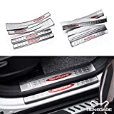 8 Pcs Fit for Jeep Renegade 2015-2017 Stainless Steel Innner External Door Sill Scuff Plate Guard Sills Protector Trim - Red