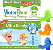 WaterDam Upgraded Swimming Ear Plugs for Kids 4-14 Years, 3 Pairs Ultra Comfy Waterproof Earplugs for Child, S