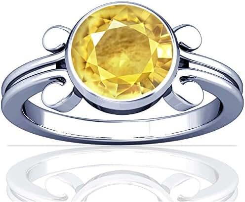 Platinum Round Cut Yellow Sapphire Solitaire Ring