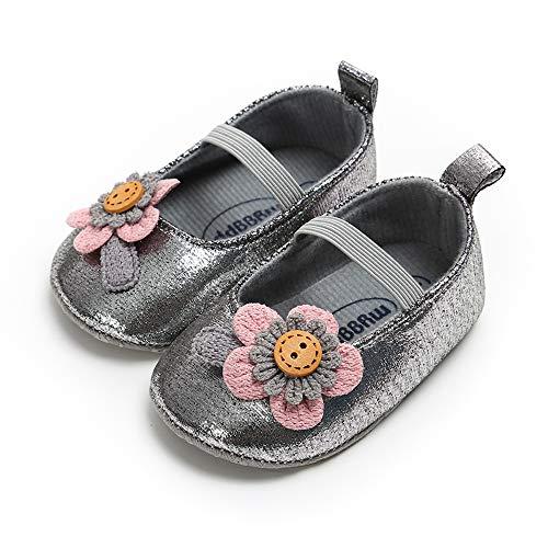 Baby Girl Moccasins Princess Sparkly Premium Lightweight Soft Sole Prewalker Toddler Shoes (M:6-12 Months, 2-DK Grey)