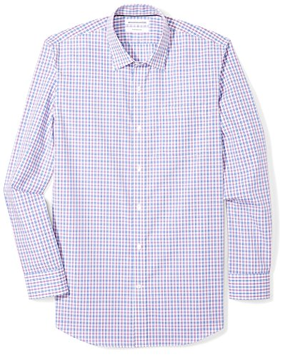 (Amazon Essentials Men's Slim-Fit Wrinkle-Resistant Long-Sleeve Dress Shirt, Blue/Purple Plaid, 16
