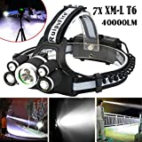 40000 LM 7X XM-L T6 LED Rechargeable Headlamp Headlight Travel Head Torch Practical