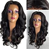 Oulaer 5X4.5 Silk Base Brazilain Lace Wigs Human Hair With Baby Hair Natural Hairline Body Wave Lace Front Wigs Silk Top Human Hair Wigs Middle Part Natural Color 16Inch Full Lace Wig
