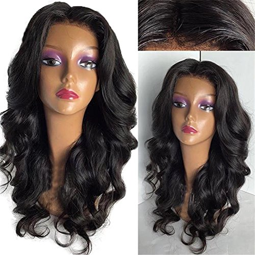 Oulaer 5X4.5 Silk Base Brazilain Lace Wigs Human Hair With Baby Hair Natural Hairline Body Wave Lace Front Wigs Silk Top Human Hair Wigs Middle Part Natural Color 20Inch Lace Front Wig by Oulaer