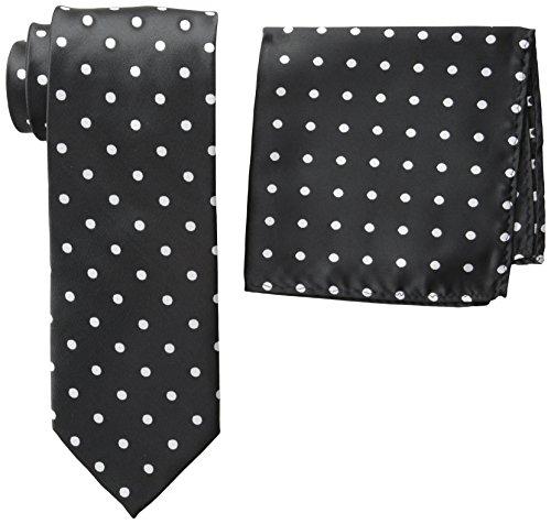 Stacy Adams Men's Satin Dot Tie Set, Black/White, One Size