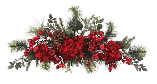 Nearly Natural 4679 Holiday Hydrangea Swag, 30-Inch, - Christmas Swags