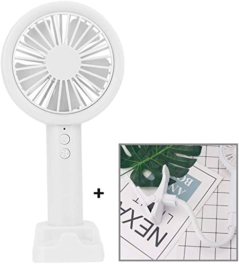 USB Rechargeable Portable Clip On Stroller Fan 3 Speeds Flexible Bendable Mini Desk Electric Fan with Light Mobile Phone Sta,White