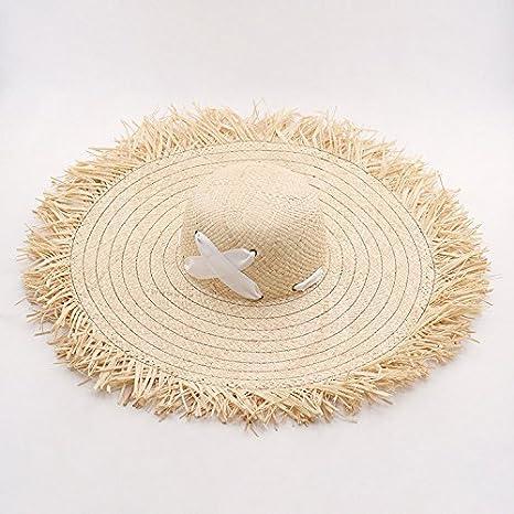 61b7dbb0 Amazon.com : ALWLj Wide Brim Sun Hats For Women Raffia Straw Summer Hat  Floppy Hat With Cross Ribbon Tie Beach Hats With, Grey : Sports & Outdoors