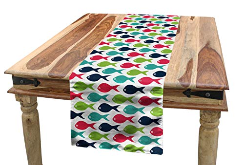 Lunarable Aquarium Table Runner, Fish Silhouette Pattern Abstract Arrangement of Marine Life Colorful Doodle Design, Dining Room Kitchen Rectangular Runner, 16 W X 72 L Inches, Multicolor ()