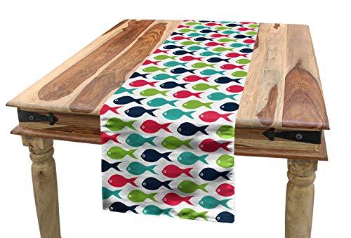 Lunarable Aquarium Table Runner, Fish Silhouette Pattern Abstract Arrangement of Marine Life Colorful Doodle Design, Dining Room Kitchen Rectangular Runner, 16