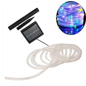 Luz de cuerda solar, SUAVER impermeable 39ft/100LED solares Luces en cuerda Solar Powered luces Cobre Tubo Luces Decoración, Hogar Fiestas, Bodas, Navidad, Multi Color