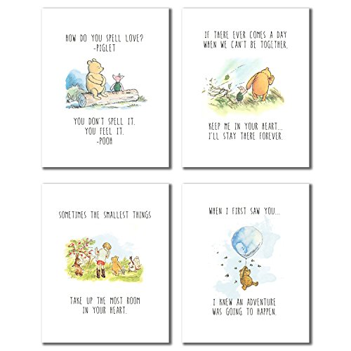 Winnie the Pooh Classic Art Prints - Set of Four 8x10 Wall Art Decor Photos Bedroom Playroom - Pooh Wall