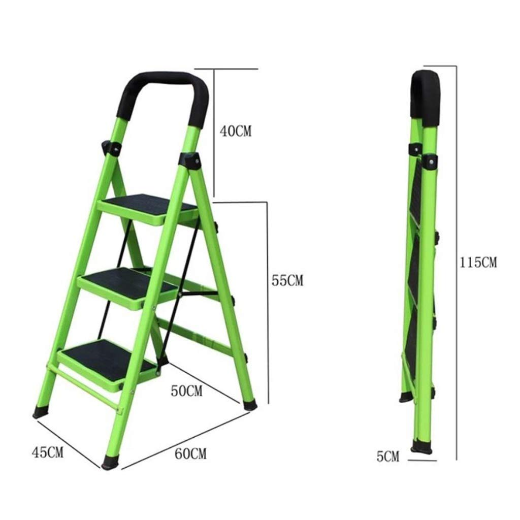 330 lbs Faltbare Metall-Haushalts-Mehrzweckleiter mit rutschfesten Gummi-Trittfl/ächenmatten 3-stufige Leiter Klapptritt - Gr/ün