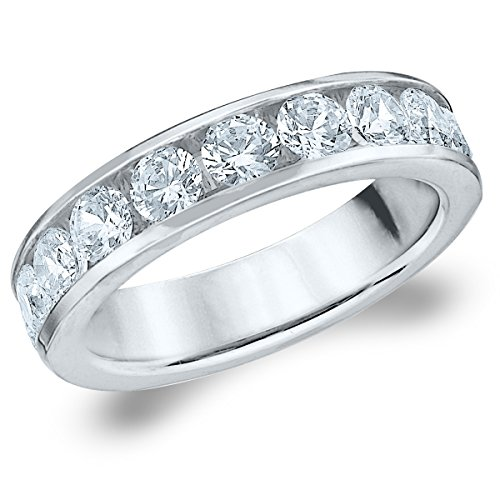 18K White Gold Diamond Channel Set Wedding Band (1.5 cttw, F-G Color, VS1-VS2 Clarity) Size 9.5