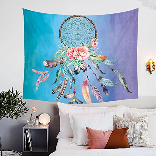 (BlessLiving Dream Catcher Tapestry Wall Hanging Native American Tribal Wall Blanket Multicolor Tapestry Indian Dorm Decor for Living Room Bedroom (Aqua, 80 x 60 Inches))