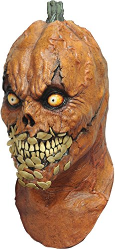 Evil Latex (Pumkevil Evil Pumpkin Latex Mask Scary Jack O Lantern Halloween Adult Mask)